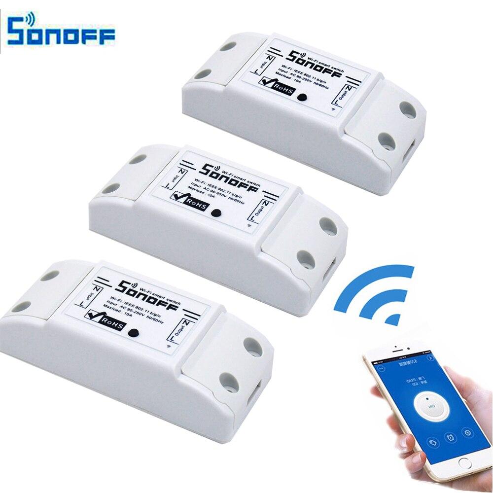 imágenes para 3 unids Sonoff Productos Itead Inteligente de Control Remoto Inalámbrico de Casa Inteligente Compartir Temporizador Diy 220 V A Través de Android IOS Wifi interruptor