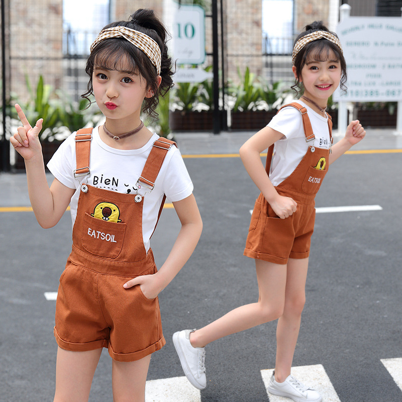 2018 Kids Clothes Sets for Girls Summer New Children Clothing Suits Girls Clothes 10 12 Years Outfits White T-shirts + Jumpsuits 2018 teenage girls clothing sets summer casual children clothing kids clothes toddler girls suits t shirts tops plaid skirts