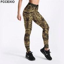 купить FCCEXIO Women Leggings 2019 New Workout Leggin Long Pants High Waist Skinny Owl Printed Leggings Fitness Leggings 3D Trousers по цене 266.68 рублей