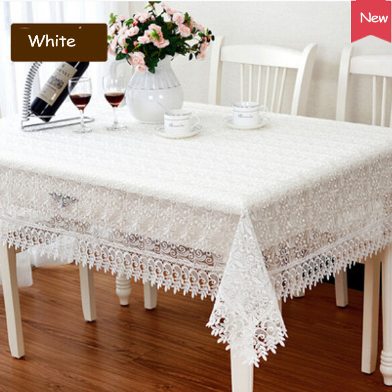 Romantic White Lace Tablecloth Embroidered Rectangle Round