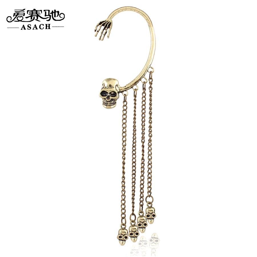 Asach Retro Skull Tassel Fake Piercing Clip Earrings Left Ear Earring  Couple Earhook Skeleton