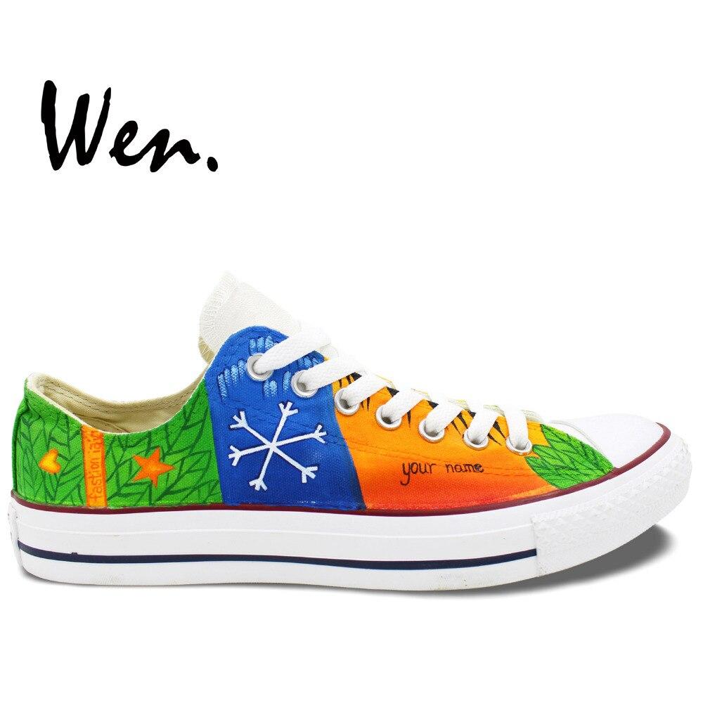Prix pour Wen Peint À La Main Sneakers Custom Design Edward Christopher Flocon De Neige Hommes de Femmes De Noël Cadeaux Low Top Toile Chaussures