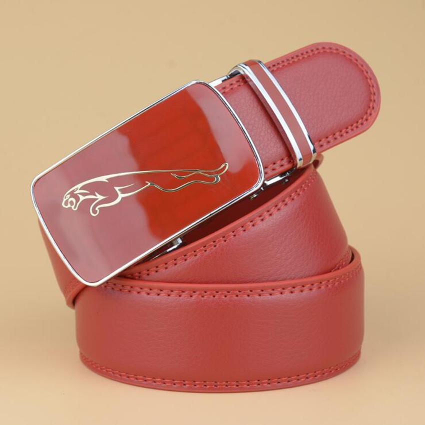 Automatic Buckle Red Belt Cowskin Business Belts Male Cow Leather Cow Boy Jeans Belt 125CM 130CM ZLB111