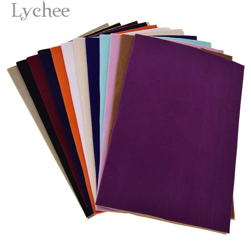 Lychee Life 29x21cm A4 Self Adhesive Velvet Fabric Sewing Fabric Sheets DIY Liner Contact Paper For Jewelry Drawer