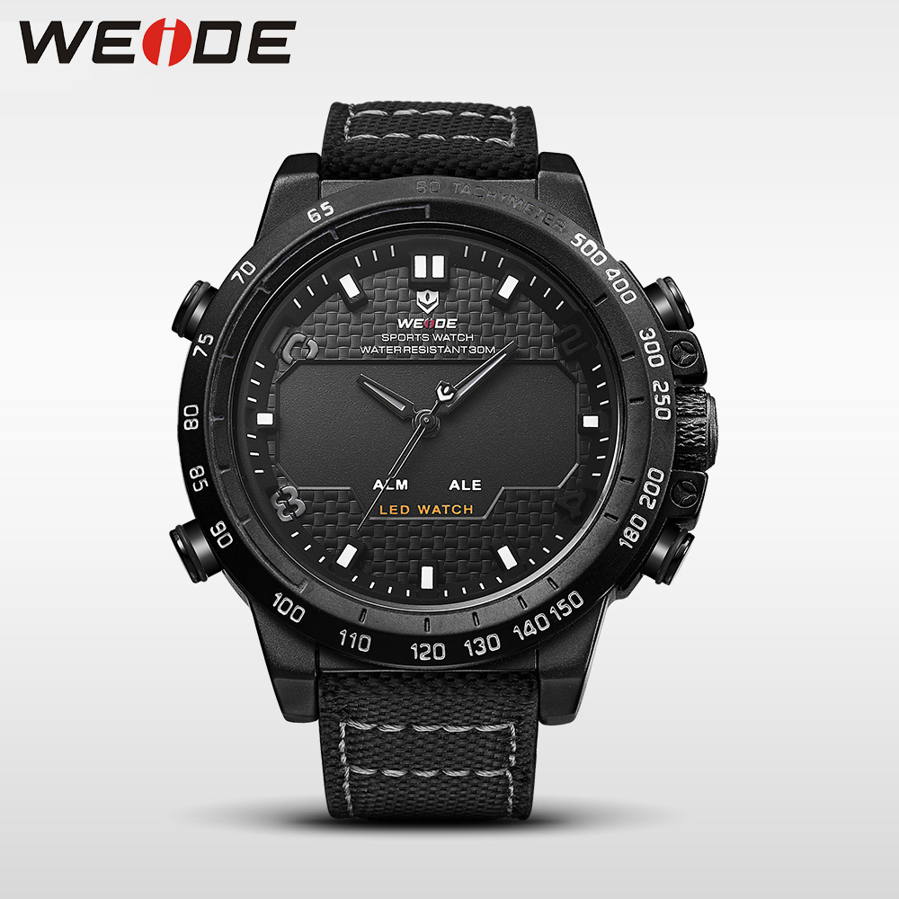 WEIDE genuine nylon watches mens brand luxury sport waterproof watch digital quartz automatic analog alarm clock erkek kol saati cjiaba y59 men s fashionable pu band self winding mechanical wrist watch black silver