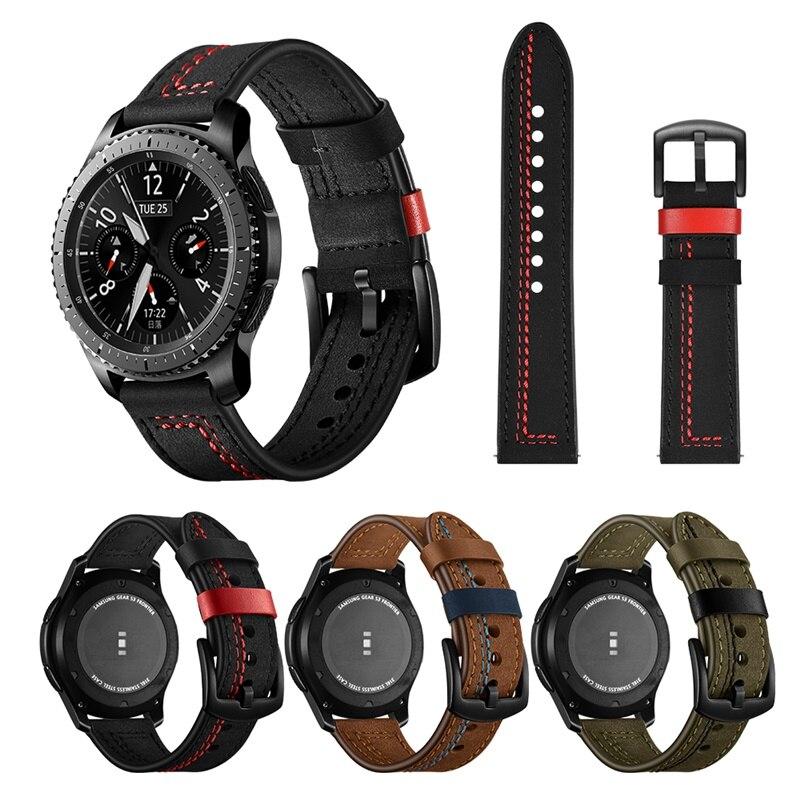Correa de reloj de cuero de vaca de 22mm para Samsung Galaxy Watch versión 46mm para Gear S3 SM-R800 para Huawei Sport Watch Band Bracelet Pulsera para mi Band 4 3 correa de muñeca de Metal sin tornillos de acero inoxidable para Xiaomi mi Band 4 3 pulseras de correa pulseira mi banda 4 3