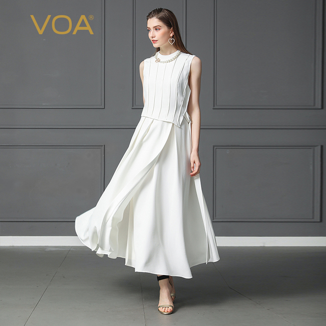 VOA Heavy Silk Plus Size 5XL Solid White Long Dress Sleeveless High Waist Slim Fake Two Set Belt Women Office Swing Dress A157