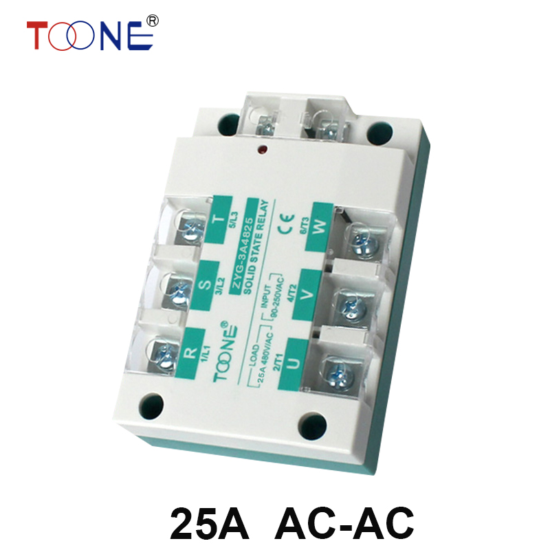 ФОТО 25A AC control AC SSR three phase Solid state relay ZYG-3A4825