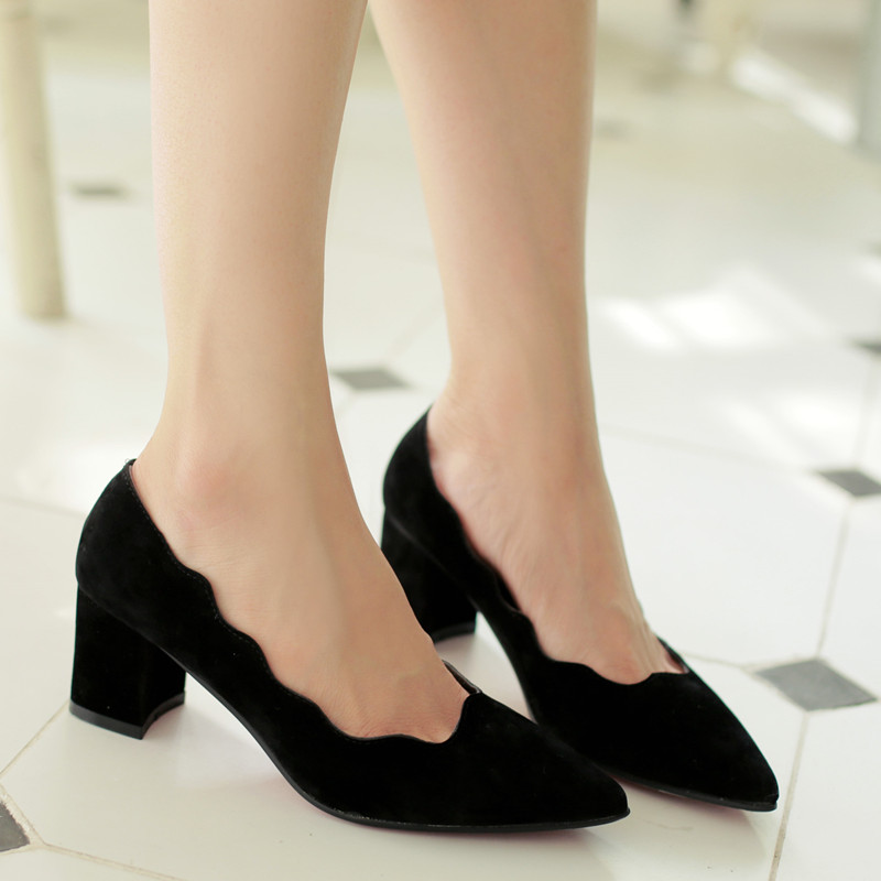 New Medium Heel Shoes Women Pointed Toe Ladies Shoes At -4369
