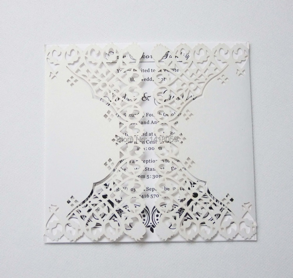 100pcs Personalized Laces Wedding Invitation Card with Ribbon + ...