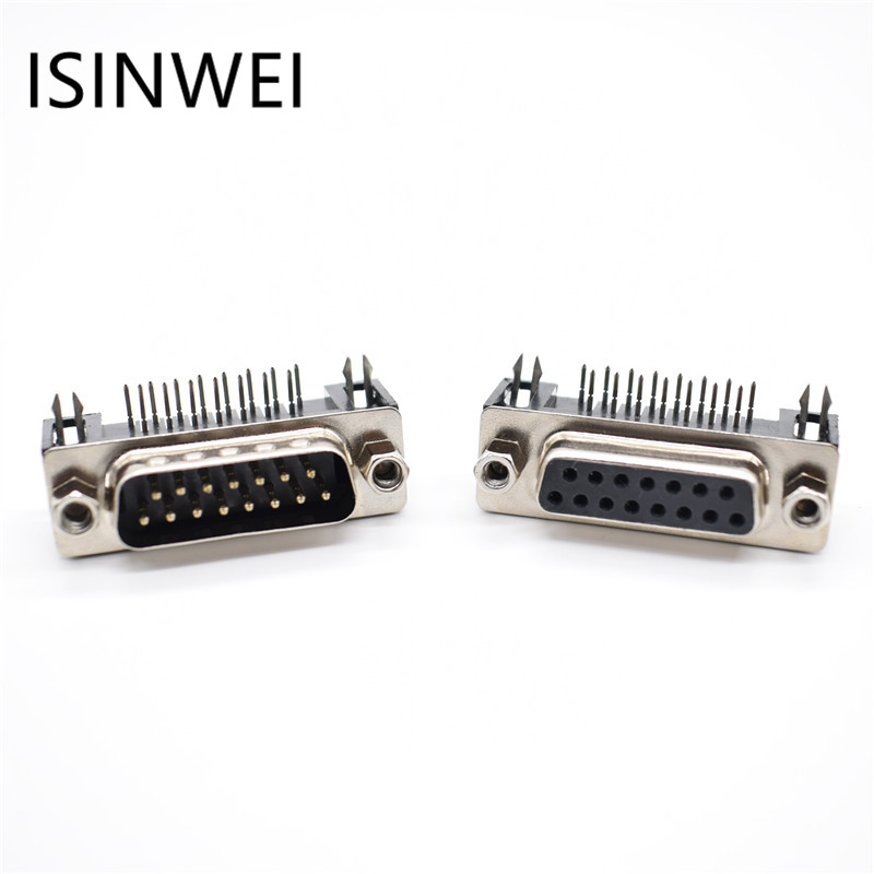 DR15 DB15 D-SUB Angle Angled 15 Pin Female Male PCB Mount Socket Connector 5pcs 3u gold plated d sub connector db 15 pin male end plug vga d sub in line metal housing 3 row 15 pin jack
