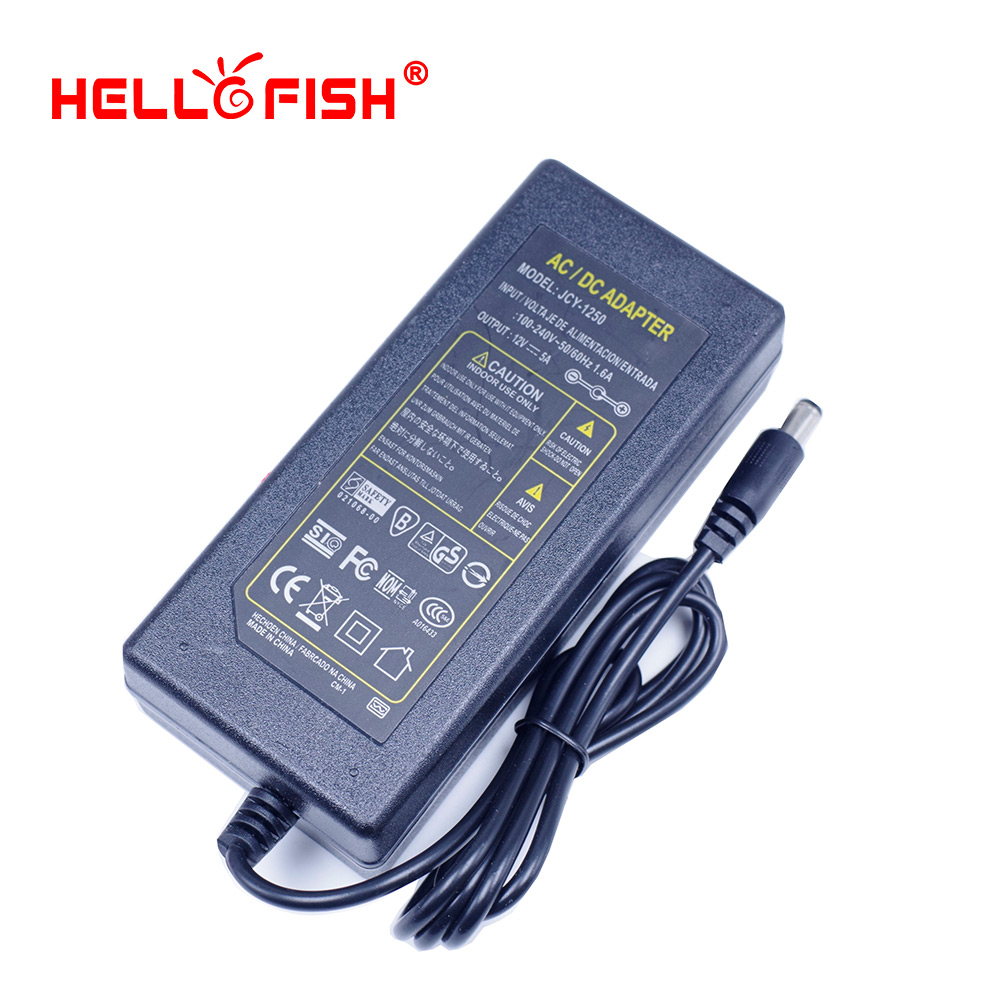 Hello Fish 12V 5A 60W Power Adapter for 5050 LED Strips LED Modules Power Supply Lighting Transformer Free Shipping