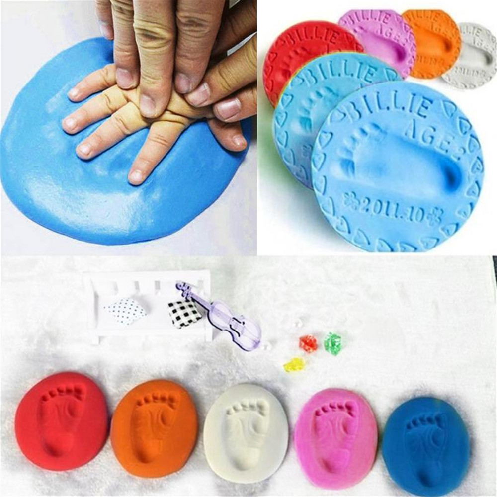 Newborn Baby Souvenirs Gifts Air Drying Soft Clay Handprint Footprint Imprint Casting Hand Footprint Makers Hand Footprint Maker