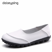 цена dobeyping 2018 New Casual Women Shoes Soft Genuine Leather Woman Flats Solid Female Loafers Slip-On Mother Shoe Plus Size 35-44
