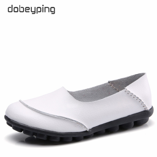 dobeyping 2018 New Casual Women Shoes Soft Genuine Leather Woman Flats Solid Female Loafers Slip On Mother Shoe Plus Size 35 44