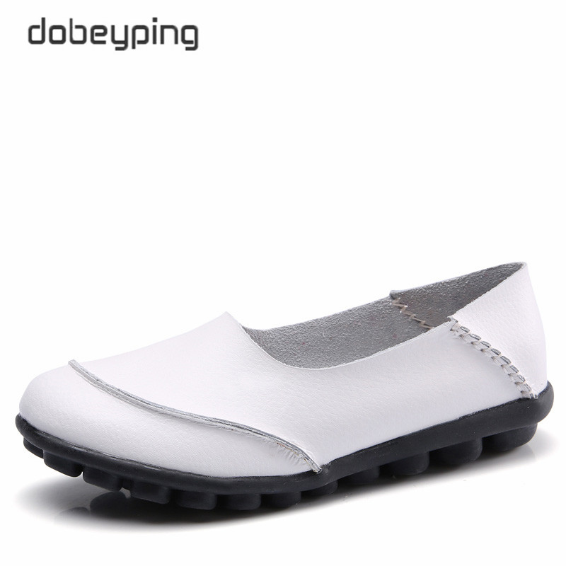 dobeyping 2018 New Casual Women Shoes Soft Genuine   Leather   Woman Flats Solid Female Loafers Slip-On Mother Shoe Plus Size 35-44