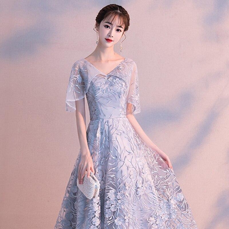 DongCMY 2019 New Short Grey Prom Dress Women Ankle Length V ...