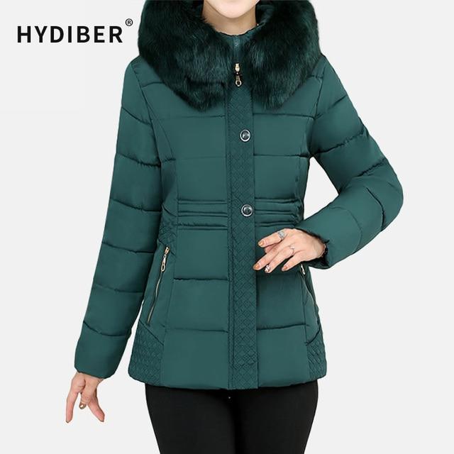 Plus Size 4XL Casaco de Inverno de Espessura Mulheres Bordado Jaqueta Com Capuz Gola de Pele de Algodão Acolchoado Parkas Magro Jaqueta Wadded Outerwear