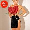 El envío gratuito! gran venta de alta calidad de las mujeres atractivas venta caliente falda de goma de látex disfraces ropa exótica