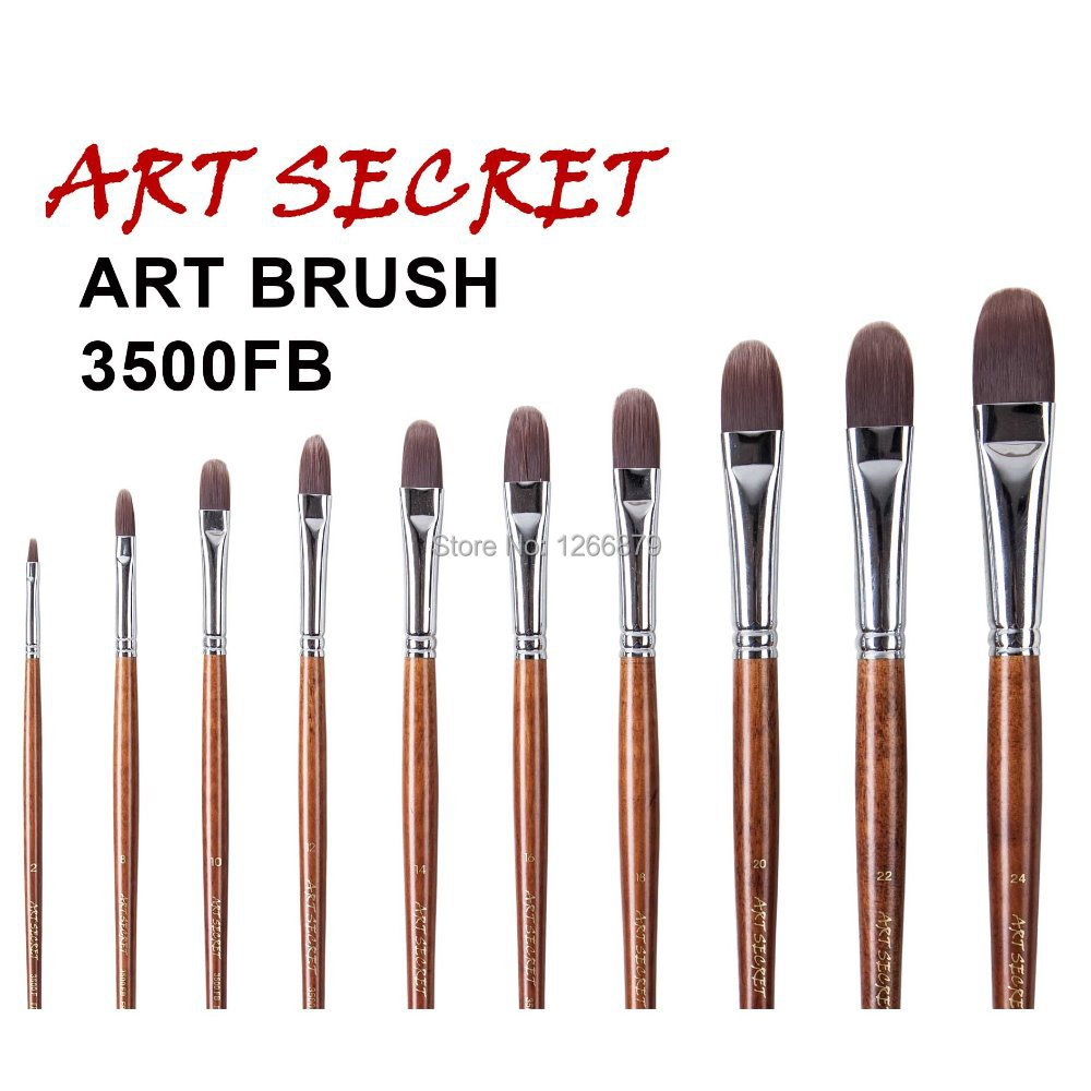 3500FB High Quality Korea Importing Taklon Hair Long Wooden Handle Art Supplies Watercolor Acrylic Gouache Brush