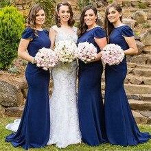 Темно-синий платья невесты 2018 короткий рукав пол Длина Длинные Русалка Свадебная вечеринка платья Дешевые фрейлина платье плюс Размеры