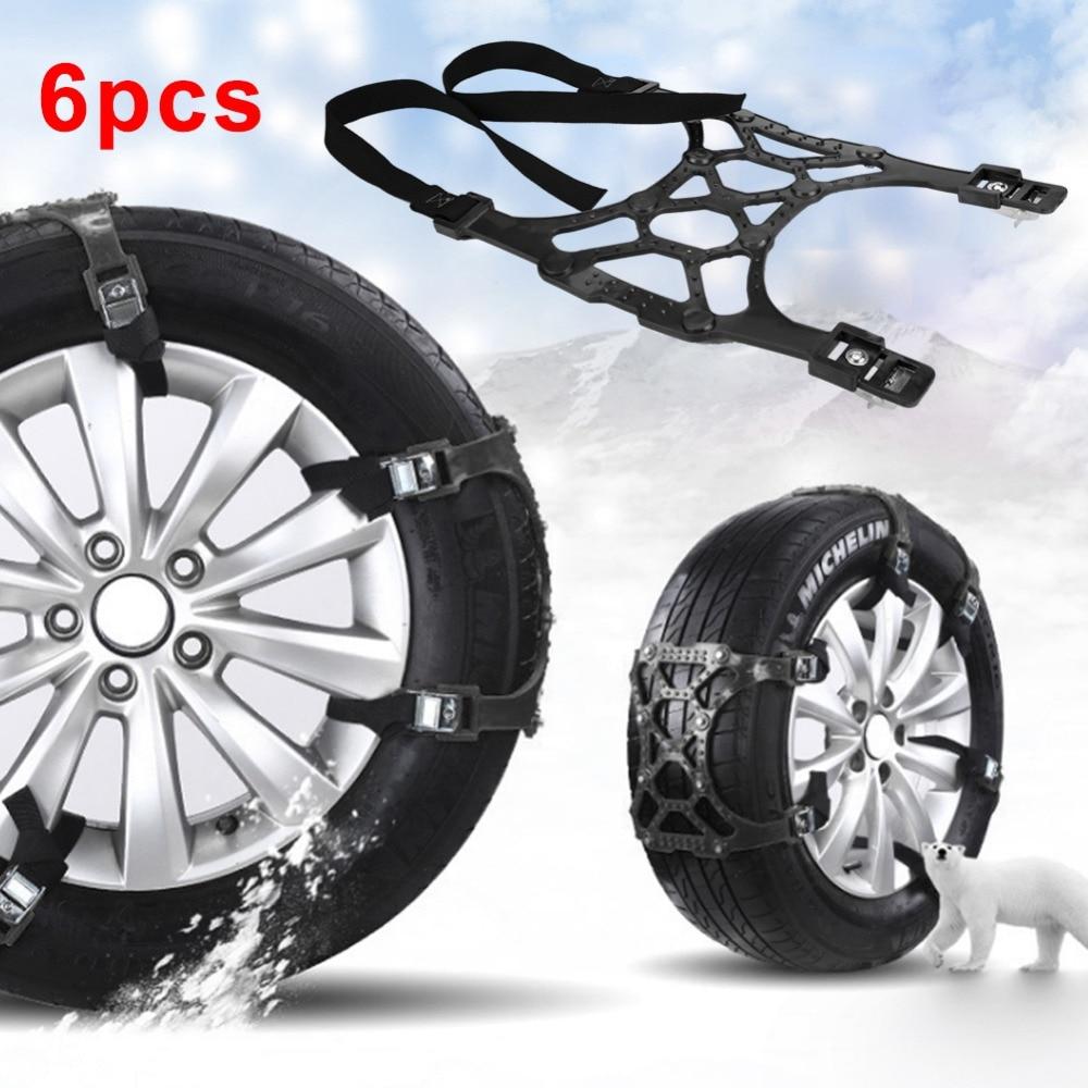 6pcs Car Snow Tire Anti-skid Chains Wheel Antiskid Universal Winter Roadway Safety Tire Chain Snow Climbing Mud Ground Anti Slip