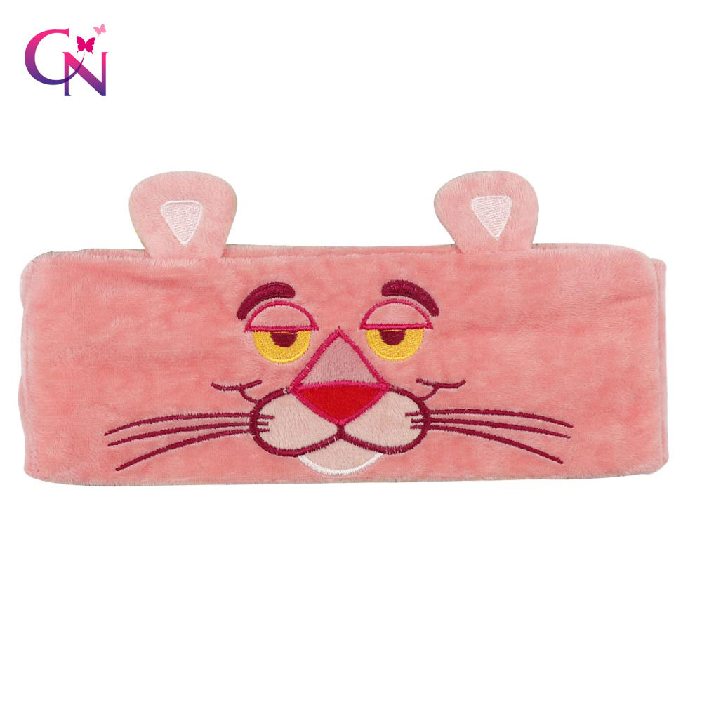 Korean Cute Cartoon Pink Panther Embroidered Headband Wash Makeup Hair band Elastic Cat Ear Turband Hair Accessories   Headwear