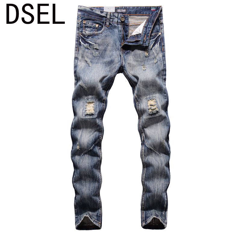 High Quality Straight Fit Ripped Jeans For Men Dsel Brand Distressed Biker Jeans Men Knee Hole