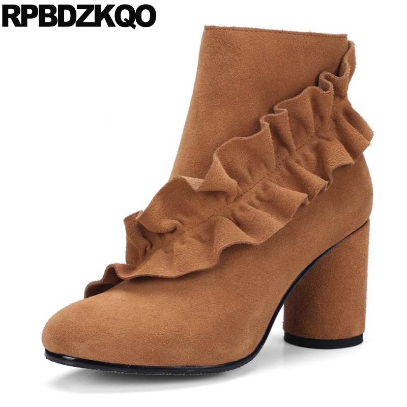 Embellished Booties Winter Shoes Genuine Leather Short Brown Women Ankle Boots 2016 Round Toe High Heel Suede Ruffles Thick