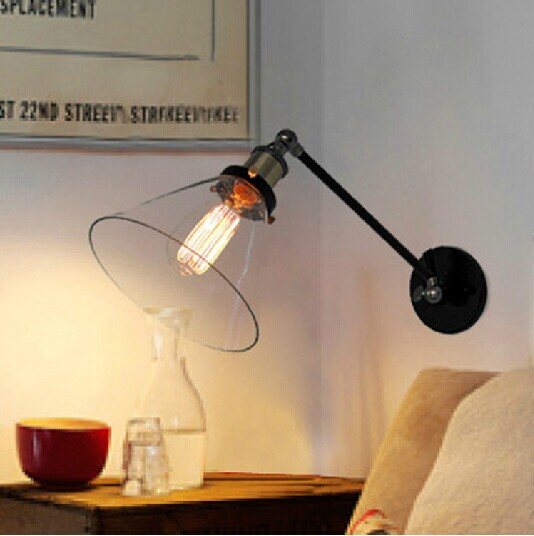 цена American country retro European LOFT industrial warehouse wall Cafe bedroom wall lamp single - cone Titan онлайн в 2017 году