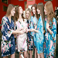 2016 Silk Bathrobe Women Satin Kimono Robes Women Floral Robes Bridesmaids Long Kimono Robe Bride Silk Robe Dressing Gown YY002