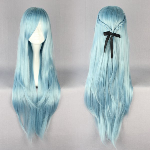MCOSER 85cm Heat Resistant Long Blue Braid Manga Cosplay Sword Art Online  Asuna Wig b5c9680742a2