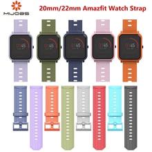 Mijobs 22mm 20mm Silicone Strap for Correa Xiaomi Huami Amazfit Bip Pace Smart Watch Accessories Wrist Bracelet TPU Wristbands