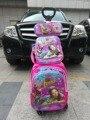 2017 Nueva princesa schoo Trolley bag kids (Mochila trolley + Almuerzo + Caja de lápiz) set niños de la Historieta bolsas de la escuela carro
