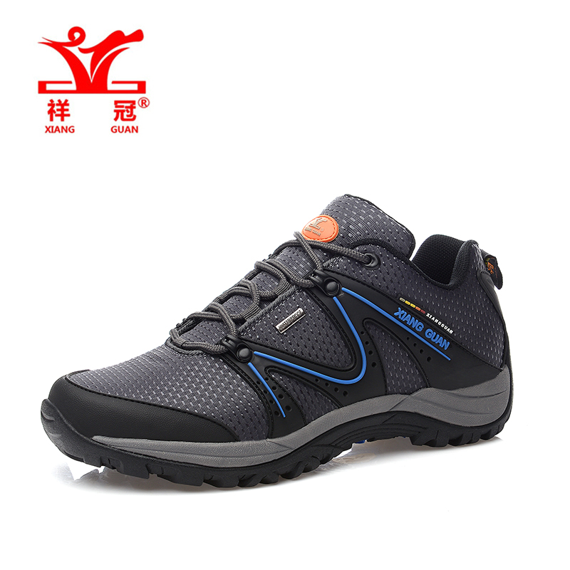 Gray Water repellent Oxford Sneakers Breathable Waterproof Rubber Trainers Climbing Hiking Shoes Men trail outdoor tourism shoes