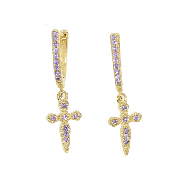 Promise Dangle Cross Earring 925 Sterling Silver Matel Pink Blue Red Stone Paved Clic Women