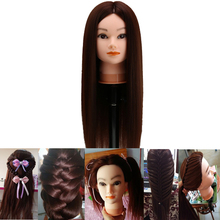 60cm Brown Hair Mannequin Head Salon Hairstyles Hairdressing Doll Heads Cosmetology Educational Female Mannequins Training