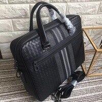 leather bag briefcase braided bag Men's business bag Handbag briefcase men cowhide Embr oidery Briefcase briefcase Business bag