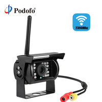 Podofo Wireless Car Rear View Camera Waterproof 18 LED IR Night Vision Backup Camera for Vehicle Truck Camper 2390 MHz Camera