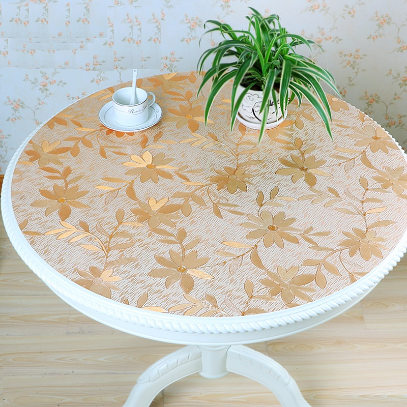 home kitchen waterproof oil proof Dining crystal transparent anti scald soft glass round PVC cover mat