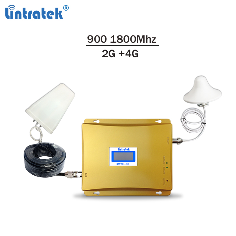 Lintratek GSM Signal Booster 4G Repeater Dual Band GSM 900Mhz 4G 1800Mhz Ampli 2G 4G Mobile Signal Repeater Amplifier 900 1800