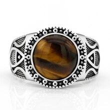 Echte Pure 925 Sterling Zilveren Antieke Turkse Ringen Voor Mannen Met Stone Tiger Ogen Onyx Kleurrijke Punk Rock Sieraden