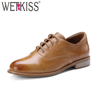 WETKISS Spring Genuine Leather Casual Women Flats Round Toe Square Heels Shoelaces Footwear Neutral Fashion Retro