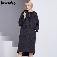 BOOTY JEANS winter jacket women 2018 classical top quality imitated silk cotton hooded Jacket Plaid Winter Coat Female Overcoat