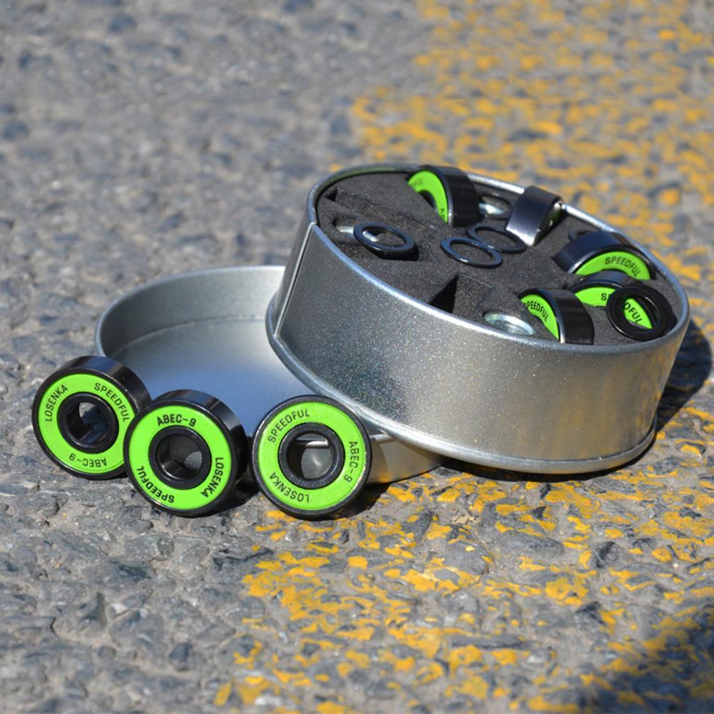 8pcs Bearing High Precision ABEC-9 Chrome Steel Fish Plate Speed Skateboard Roller Skating Bearing + 4 Sleeves + 8 Sliding Wires
