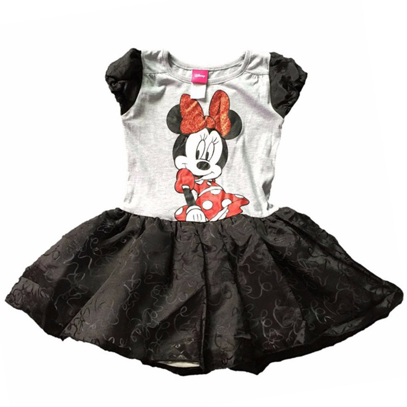 , 8 pieces/lot The Latest 2-6x Girl Cue Minnie Black and Gray Color Ball Gown Tutu Dress,MINNIE MOUSE dress