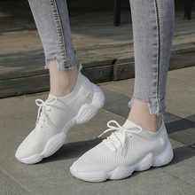 AMe 2019 Fashion Lace-up Off White Black Pink Sneakers Women Casual Sock Shoes Dames Schoenen KZ008