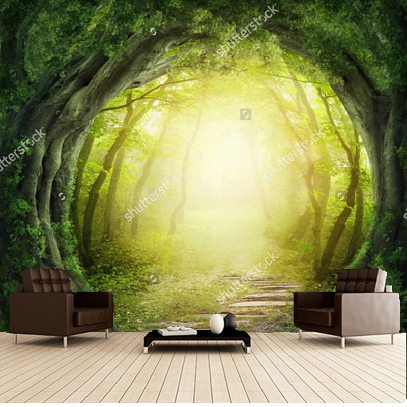 Custom papel de parede infantil,Magic Black Forest Road,3D fantasy for children's room bedroom wall Textile Wallcoverings custom papel de parede infantil see graffiti mural for sitting room sofa bedroom tv wall waterproof vinyl which wallpaper