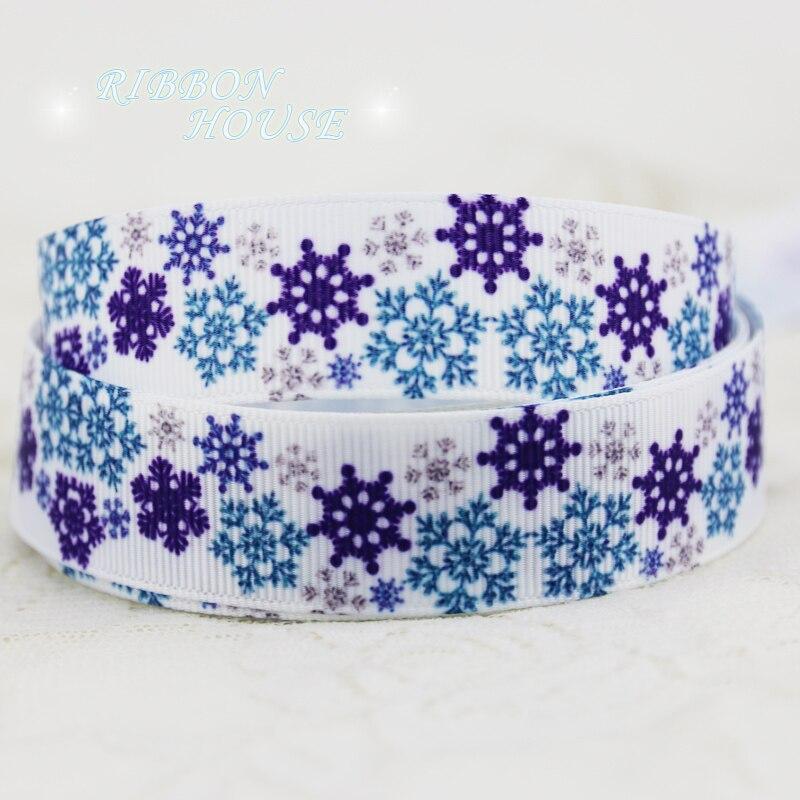 22 мм Синий принт Снежинка grosgrain ленты лента для рождественских подарков одежда высшего качества Ленты