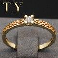 Твердые 18 К Кольцо Из Желтого Золота 0.1 Карат Пасьянс Природных Алмазов Обручальное Кольцо Для Женщин С Лентой Лучший Рождественский Подарок